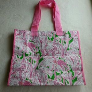 Lilly Pulitzer Flamingo Plastic Shopping Tote Bag